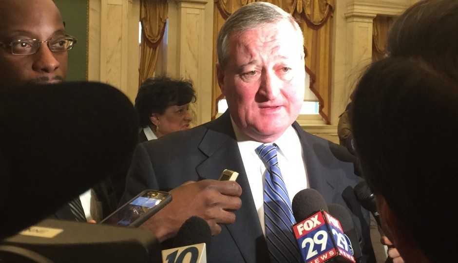 Jim Kenney takes questions from the press on his last day as a councilman.