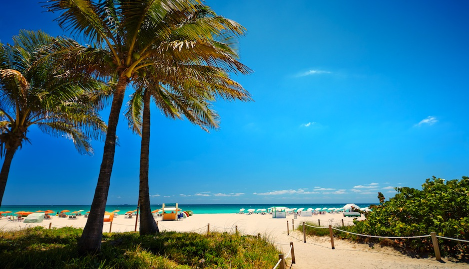 Beach-loving brides should take their party south to Miami. Shutterstock.