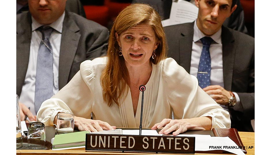 Samantha Power, the United States' ambassador to the United Nations, speaks during a meeting of the U.N. Security Council Monday, Dec. 22, 2014, at the U.N. headquarters. The U.N. Security Council placed North Korea's bleak human rights situation on its agenda Monday, a groundbreaking step toward possibly holding the nuclear-armed but desperately poor country and leader Kim Jong Un accountable for alleged crimes against humanity.