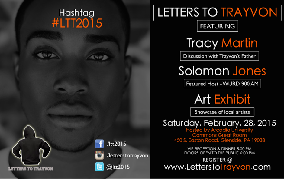 "A flyer for ""Letters to Trayvon"" at Arcadia University."