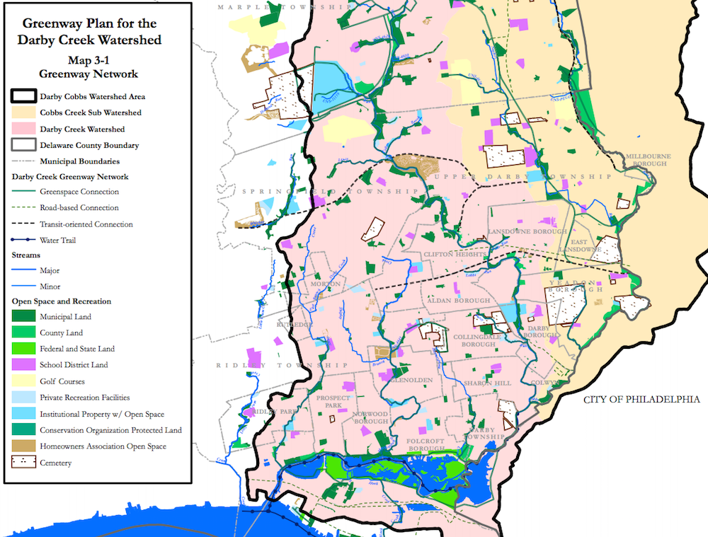 Screenshot of Greenway Plan map for Darby Creek Creek Watershed