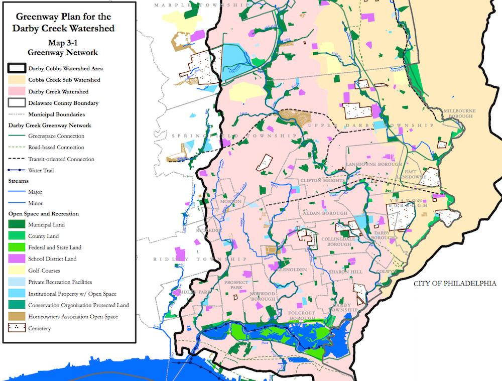 Screenshot of Greenway Plan map for Darby Creek Creek Watershed