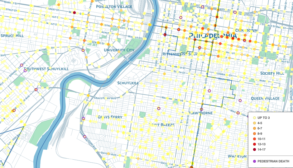PlanPhilly and Azavea have put together an interactive map identifying the most dangerous spots for pedestrians citywide.