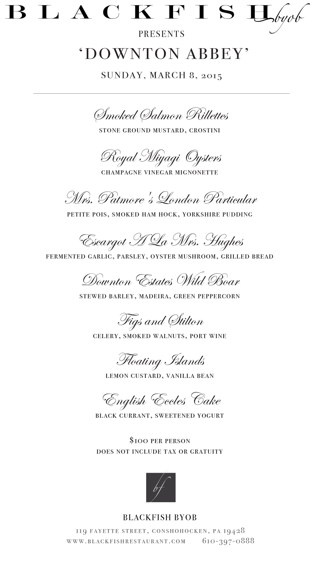 blackfish-Downton-Abbey-dinner-menu