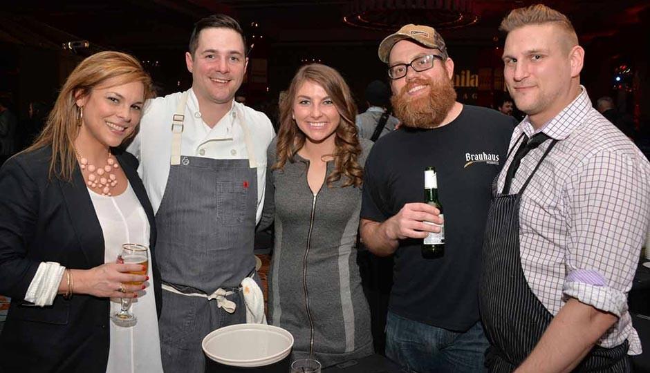 From left: Sandy Mullen, Open Table, Nick Elmi, Laurel, Stacey Lyons, GM at  Ela, author/chef Jeremy Nolen, executive chef of Brauhaus Schmitz, Jason Cichonski, Ela and Gaslight.