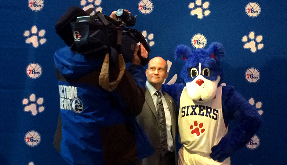 An Action News cameraman films Tim McDermott, chief marketing and innovation officer for the Sixers, and new mascot Franklin as they prepare for a TV interview (Photo: Dan McQuade)