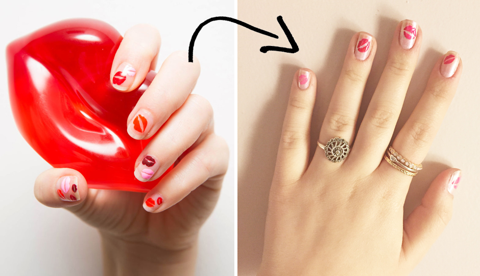 My attempt at the mani on the right   Image via Cosmopolitan