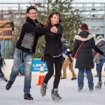 Sweethearts ice skating at Blue Cross RiverRink.
