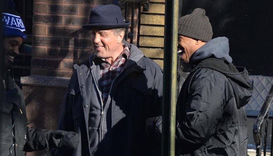 Sylvester Stallone and co-star Michael B. Jordan filming Creed at The Victor Cafe in South Philly on February 18th | Photo by HughE Dillon