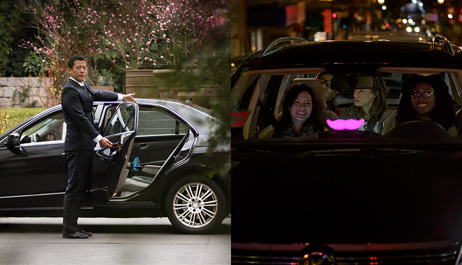 Promotional photos from the press kits of Uber (left) and Lyft