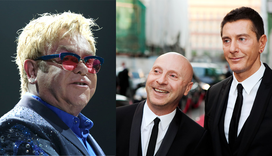 61341b6cf5ed Images via Shutterstock. The battle continues between Elton John and  Domenico Dolce and Stefano Gabbana ...