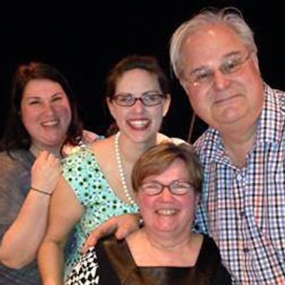 Sisters Gina and Jenn (far left) with their parents after last year's cabaret. | Photo by Parkinson's Council