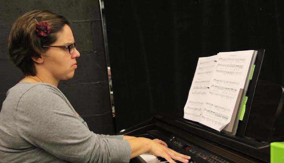 Giachero at her piano.