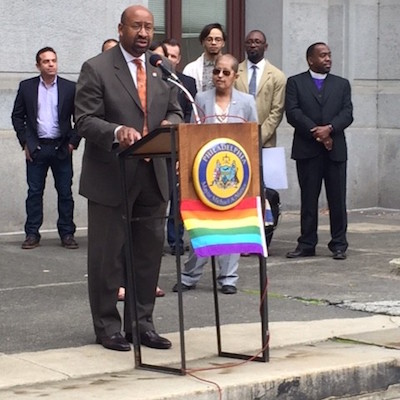 Mayor Nutter at the 2014 LGBT History Celebration at City Hall, Casarez looks on. | Photo by Bryan Buttler