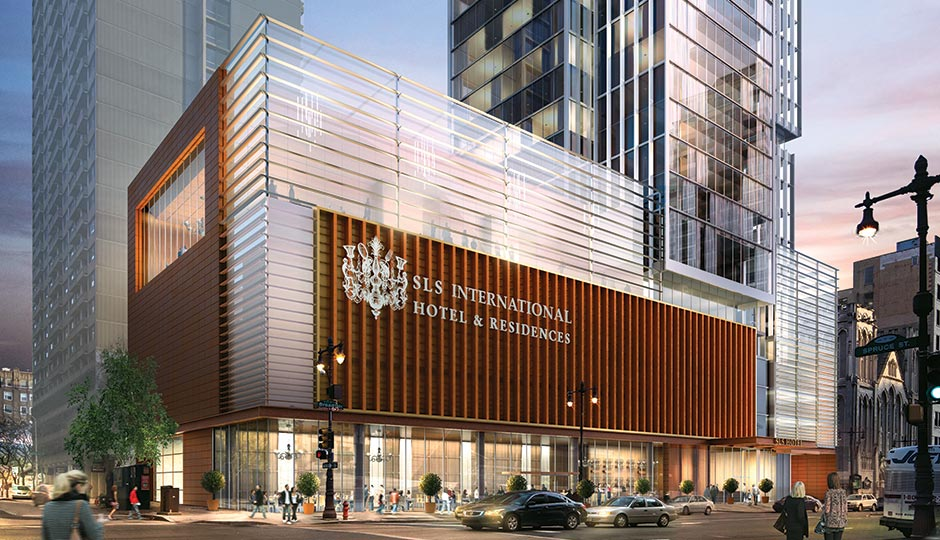 A rendering of the proposed SLS Hotel.