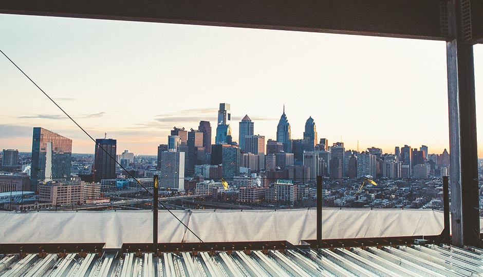 A view of Center City from Penn Medicine's Center for Advanced Cellular Therapeutics, taken on a February morning at sunrise. Photograph by Chris Sembrot