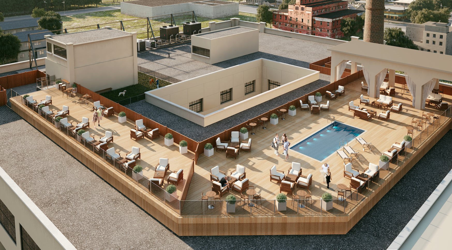 Property Development In Philly : Fairmount at brewerytown s roof deck has views pool and