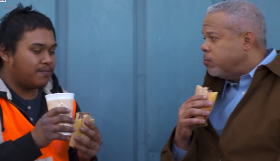 Political ad = cheesesteak consumption. | Screen grab of Tony Williams new campaign ad.