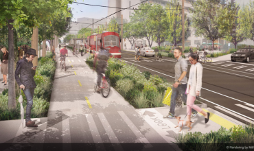 Shared streets, like this proposed project in Seattle, make room on the roadway not just for cars, but for bicyclists, pedestrians and transit riders as well. | Rendering by Mithun.