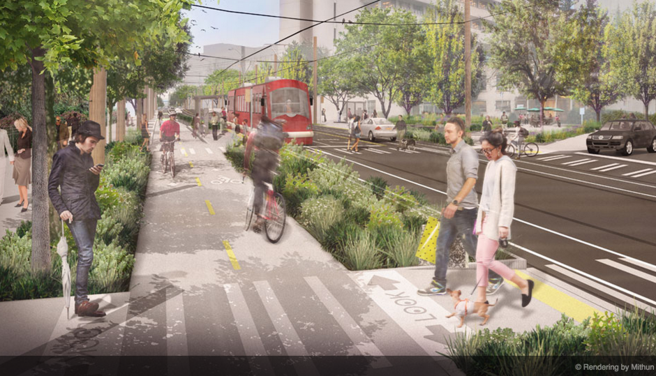 Shared streets, like this proposed project in Seattle, make room on the roadway not just for cars, but for bicyclists, pedestrians and transit riders as well.   Rendering by Mithun.