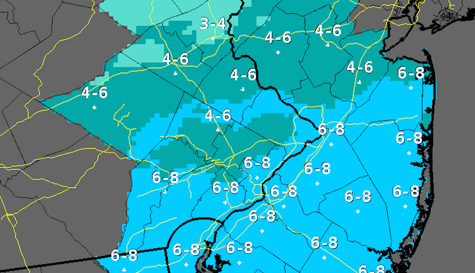 Here are the snow totals for the area, predicted by the National Weather Service as of 4 a.m.