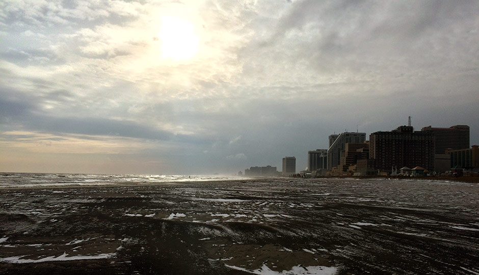 Atlantic City winter beach