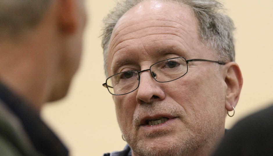 Bill Ayers is interviewed by the news media prior to his speech at the University of Wyoming Wednesday April 28, 2010 in Laramie, Wyo. (AP Photo/Laramie Boomerang, Andy Carpenean)