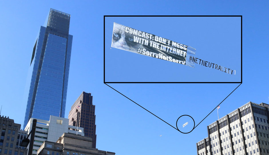 Grumpy Cat flying around the Comcast Center