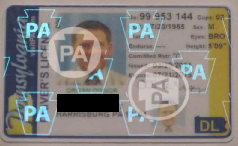 Pennsylvania drivers license - correct security feature