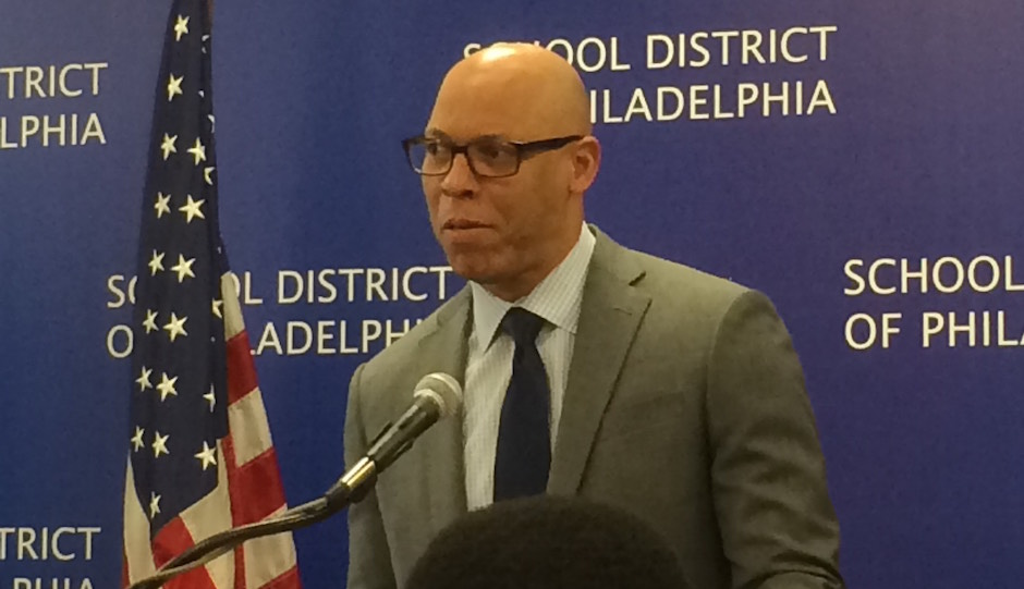 "Supt. William Hite spoke to reporters, unveiling ""Action Plan 3.0."""