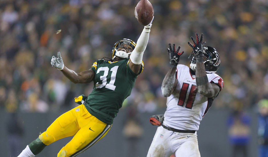 Davon House and Julio Jones. Jeff Hanisch / USA TODAY