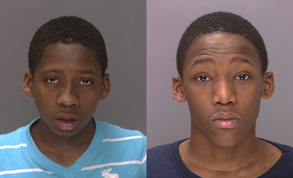 Brandon Smith (left) is in custody. Police are hunting for Tyfine Hamilton (right).