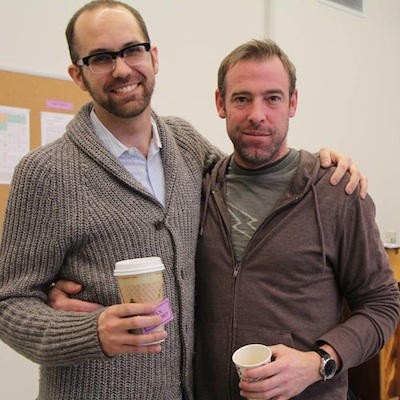 Arden Associate Artistic Director Matt Decker and  Ian Merrill Peakes during a Macbeth rehearsal.