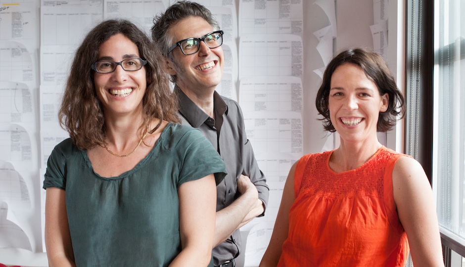 Sarah Koenig (left) and Julie Snyder with This American Life host Ira Glass. | Photo by Meredith Heuer, courtesy of Serial.