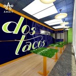 HughE Dillon's rendering of the inside of the new Dos Tacos