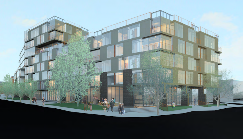 View from NW corner of 43rd Street & Baltimore Avenue. | Rendering by U3 Ventues, Cecil Baker + Partners, Bryan Hanes. | Image via phila.gov