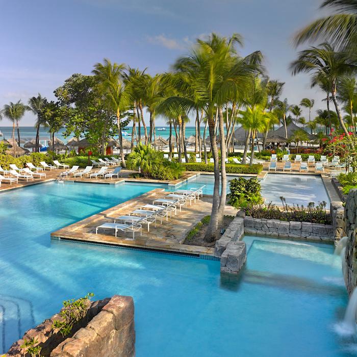 The multi-level pool complex at the Hyatt Regency Aruba Resort Spa & Casino. All photos courtesy of the Hyatt.