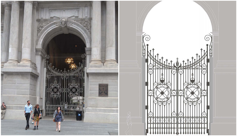The new City Hall gates.   Renderings and designs from Vitetta.