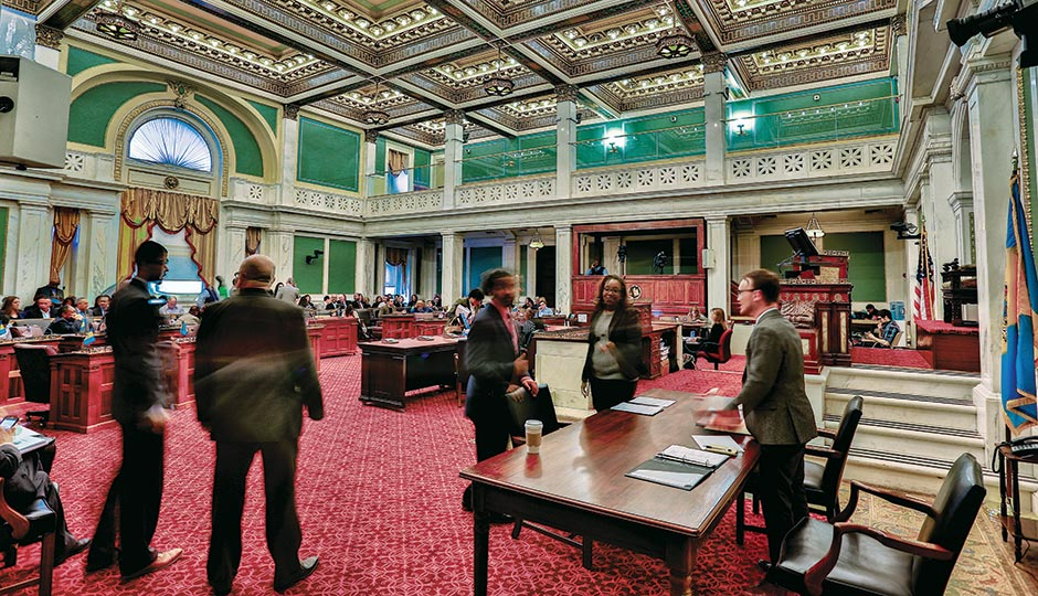 Inside City Council chambers. Photograph by Jeff Fusco