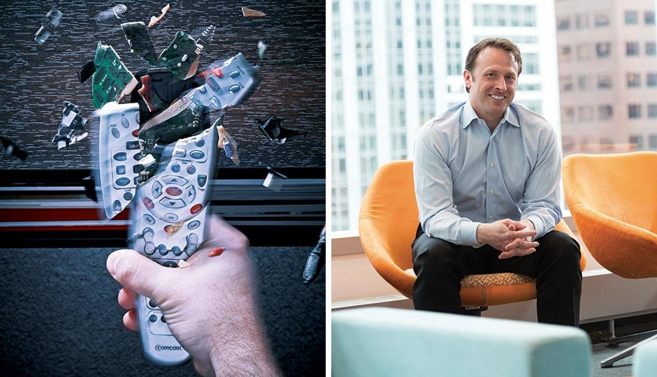 How a lot of people feel about Comcast, left, and the man the company has put in charge of fixing it, head of user experience Charlie Herrin. Photographs by Clint Blowers (left) and Eric Prine