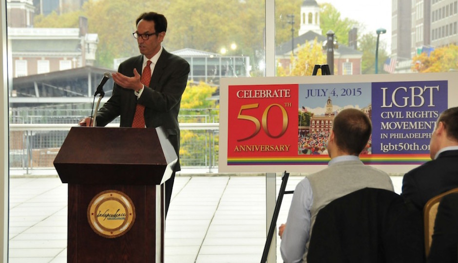 Equality Forum executive director Malcolm Lazin at a press conference about the 50th Anniversary  of the Annual Reminders.