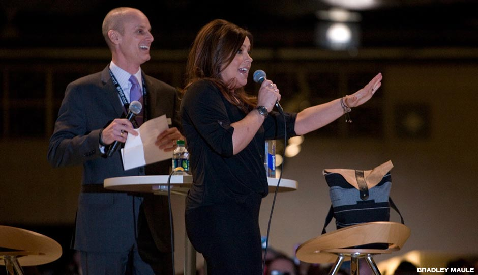 Drew Becher and Rachael Ray at the 2014 Philadelphia Flower Show.
