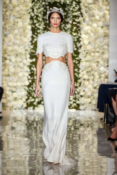We love this two-piece silk gown by Reem Acra. Photo courtesy of the designer.