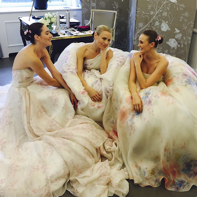 We love these pastel floral gowns from Romona Keveza. Instagram.com/romonakeveza