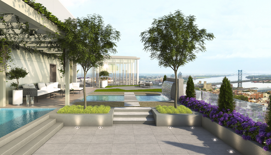 This is the terrace on the penthouse.   Rendering via 500 Walnut
