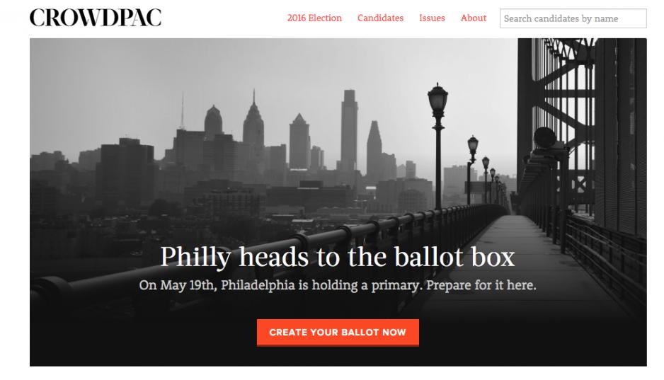 Screenshot of the Crowdpac homepage.
