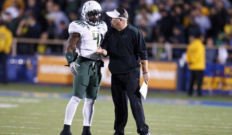 Josh Huff and Chip Kelly back at Oregon. USA Today