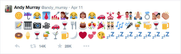 Find The Emoji Wedding.Tennis Star Andy Murray Sent Out The Most Eloquent Emoji Tweet After
