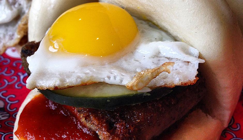 Bing Bing's Pac-Man Buns - Scrapple and quail egg