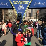 Mike Rossi and family at the Boston Marathon finish line.